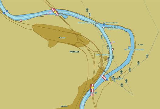 extrait de la carte de la Moselle canalisée